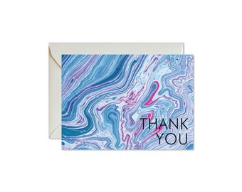 THANK YOU Indigo + Fuchsia Marble Notecards + Envelopes Pack | Boxed Set (8) | Abstract | Modern | Bohemian