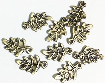 Bulk 100 pcs of antique bronze Oak Leaf charm 9x15mm, bulk leaf charm, antique brass alloy ...