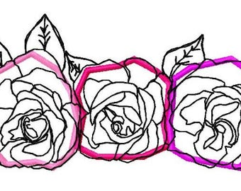 Applique Roses Machine Embroidery Design by Letzrock  3112