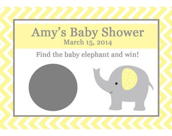 32 Personalized Baby Shower Scratch Off Game Cards -  ELEPHANT