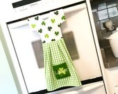 Irish Shamrock Kitchen Towel Dress / Dish Towel Dress / Tea Towel Oven Dress /Green and White Hanging Towel by Klosti