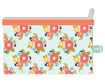 "Orange Floral Day 2 Day Planner Zipper Pouch 5""X8"" For A5 Planner • Jillibean Soup Planner Pouch (JB1235)"