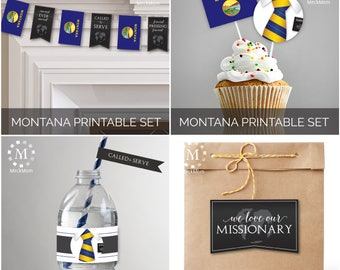 INSTANT DOWNLOAD - MONTANA -  Missionary Farewell Welcome Home Decoration Printable Set for Elders