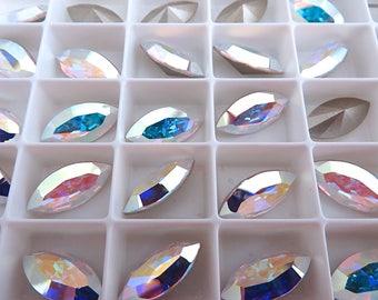 12 Crystal AB Swarovski Crystal Stone Navette 4228 15mm x 7mm