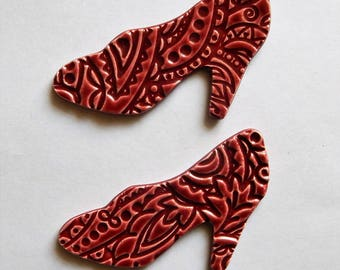 red high heel shoes...embossed mosaic tiles