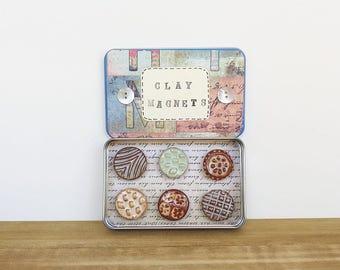 Ceramic Magnet Set, Rustic Clay Fridge Magnet Set of 6, Stocking Stuffer, Housewarming Gift