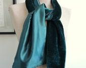 Custom luxury satin & velvet velour scarf- satin lined- made to order