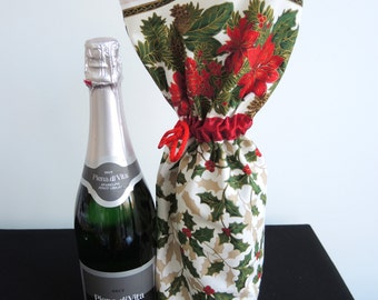 SALE 25% off Christmas retro bottle bag -Holly poinsettia print festive cotton long drawstring pouch, medium- ready to ship