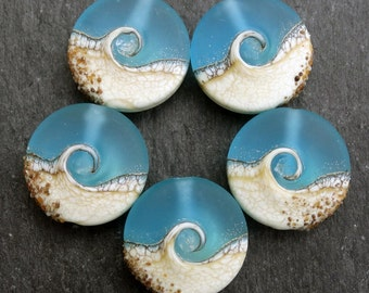 Lampwork Small Focals Sprees (5) Bright Aqua Wave