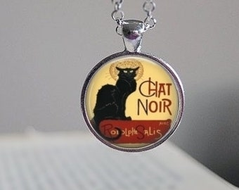 Chat Noir, Cat, Chat Noir Glass Dome Necklace