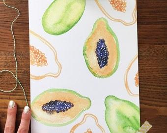 Papaya Art Print. Watercolor Papayas. Papaya Painting. Papaya Fruit Art. Kitchen Art. Home Decor. 8x10 Print. Ready to Frame. Gift Under 20