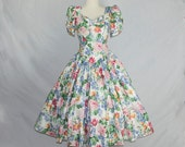 RESERVED~ Vintage Floral Print Princess Dress 1980s Full Skirt and Puff Sleeves