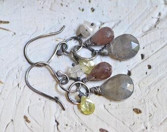 Labradorite Cluster Earrings - Mauve Pink Sapphire Earrings - CZ Earrings - Oxidized Sterling Silver Link Earrings - Sparkle Yellow Earrings