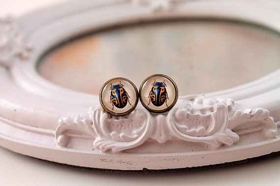 Insect bug stud earrings sweet lolita feminine  insect bug blue yellow nature