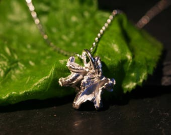 Cute Little Solid Silver Flower Necklace