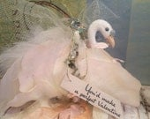 Valentine swan ornament shabby chic vintage inspired token of love peach and cream valentine ornament party decor