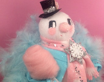 Snowman doll snowman centerpiece pink and blue snowman decor vintage retro inspired winter decor pink cotton candy