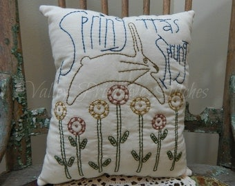 Decorative Spring Pillow, Spring Has Sprung, Flowers, Rabbit, Bunny