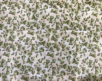 1 Yard of Green and White Leaf/Leaves Print Cotton Fabric from Diane Richmond