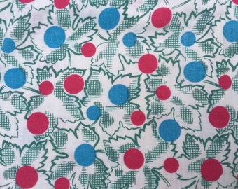 Vintage Red and Blue Big Polka Dots and Maple Leaves Design FEED SACK FEEDSACK Fabric