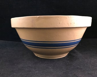 Vintage Blue Banded Yellow Ware Hull Pottery Large Mixing/Serving Bowl