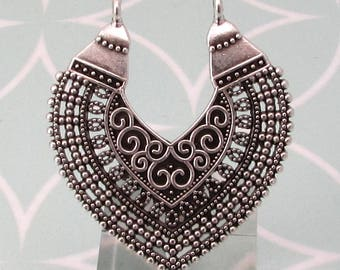 Boho Ethnic Filigree Pendant, Antique Silver, AS444