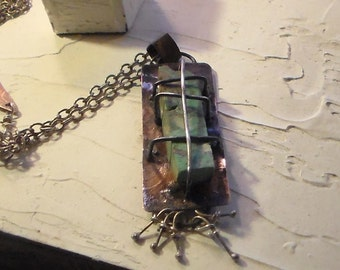 Caged and Captured Turquoise Slab Necklace