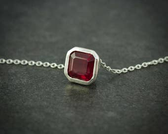 Ruby Necklace, Asscher Cut Red Ruby Pendant , Sterling Silver Slide Necklace