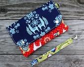 Wallet Wristlet Clutch LARGE Llama Damask Ready To Ship