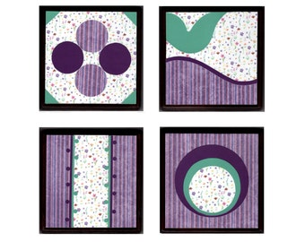 Set of 4 Wall Plaques - Purple and Green Spring Flowers - Baby Girl Nursery Wall Art Room Decor Gift - Free Shipping