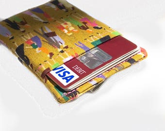 card sleeve. small fabric women cloth credit card holder. cash and business card holder. small gift
