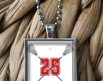 Lacrosse CUSTOM Team Player Number Guys Keychain Design or Glass Pendant Necklace