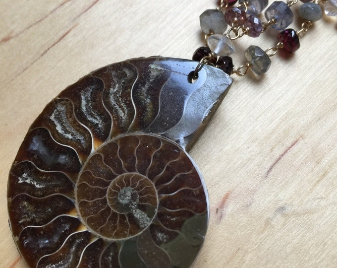 Insouciant Studios Ammonite Pearl and gemstone Necklace
