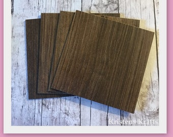 NEW-Set of 16- Walnut Coaster Tile Blanks- 4 Inch by 4 Inch-  Add paper, fabric or paint to the front- The back is a finished surface