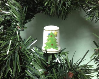 Vintage Sewing Thimble Featuring Christmas Tree