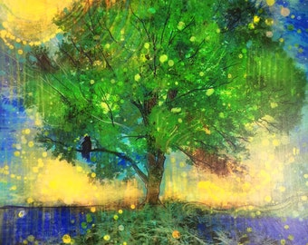 Firefly summer night, 16x20 inches, photography mixed media #Fire flies #Landscapes Gift Ideas / Gardener & Naturalist #Tree art #summer