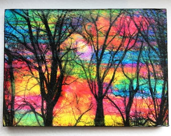 Cotton candy, sunrise, aceo original mounted, miniature, mixed media photograph on a little hard board, trees, bare trees #art #aceo #Trees