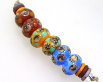 Handmade Lampwork Glass Beads - 3 pairs. Silvered ivory, colorful dots, on coral, apricot & periwinkle. Organic colors, earring pairs.