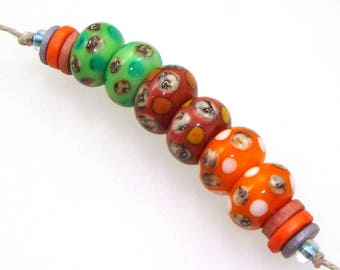 Handmade Lampwork Glass Beads - 3 pairs. Silvered ivory dots, more dots on apple green, russet, tangerine.  Earring pairs, jewelry supplies.