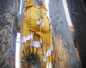 ALL TRIBES deerskin Medicine Bag, leather purse, Shaman Talisman Tribal Primative, Standing Rock, medicine man, spirit pouch, Lakota Sioux