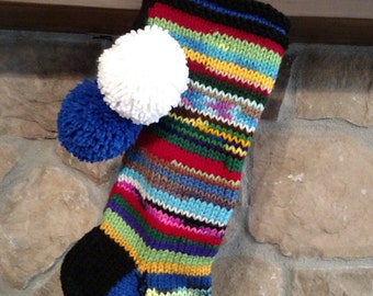 Old Fashioned Hand Knit Christmas Stocking Cobalt Blue Gusset Snowflake Rag Rainbow Stripes