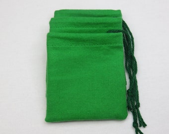 "Set of 3, 3"" x 3"" Solid Green Flannel Cotton Hoo Doo / Mojo Bags / Jewelry Pouches"
