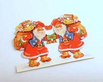 Vintage Scrap Christmas Decoration Santa Tomte Tomten