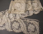 Reserved Antique Victorian 1900s ecru wide filet lace yardage