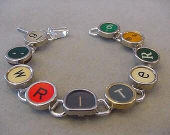 Typewriter key Bracelet - spells WRITER  Colorful Typewriter Keys Writer typewriter key Jewelry  Bracelet
