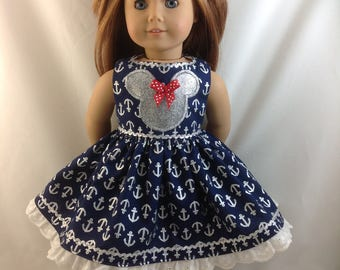 American Girl Doll Dress  Minnie Mouse Navy Nautical  Disneyland Disney CRUISE 18 in with Ears and FREE Hanger  With Shoes