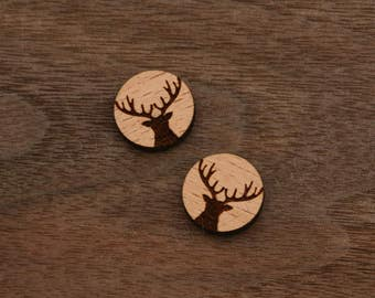 8 pieces of Deer Wood Charm, Carved, Engraved, Earring Supplies, Cabochons (WC 036)