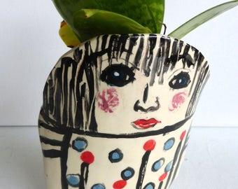 planter vase face vase figurative vase white red black two girl faces indoor gardening home decor