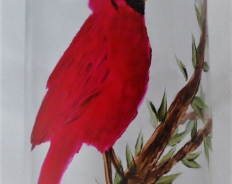 Red Cardinal Vase Hand Painted Cardinal Glass Vase