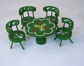 Vintage Dollhouse Furniture  Green Painted Wood Doll Furniture Green Tole Painted Wood Furniture Miniatures Doll House Table and Chairs